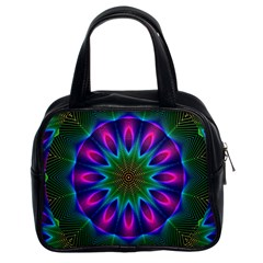 Star Of Leaves, Abstract Magenta Green Forest Classic Handbag (two Sides) by DianeClancy