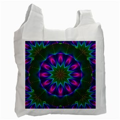 Star Of Leaves, Abstract Magenta Green Forest White Reusable Bag (one Side) by DianeClancy