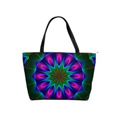 Star Of Leaves, Abstract Magenta Green Forest Large Shoulder Bag by DianeClancy