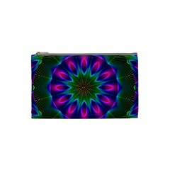 Star Of Leaves, Abstract Magenta Green Forest Cosmetic Bag (small) by DianeClancy