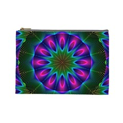 Star Of Leaves, Abstract Magenta Green Forest Cosmetic Bag (large) by DianeClancy