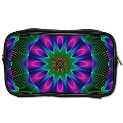 Star Of Leaves, Abstract Magenta Green Forest Travel Toiletry Bag (one Side) by DianeClancy