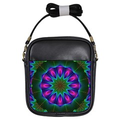 Star Of Leaves, Abstract Magenta Green Forest Girl s Sling Bag by DianeClancy