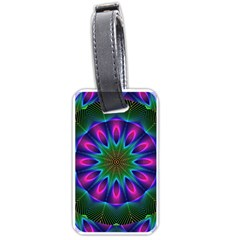 Star Of Leaves, Abstract Magenta Green Forest Luggage Tag (one Side) by DianeClancy