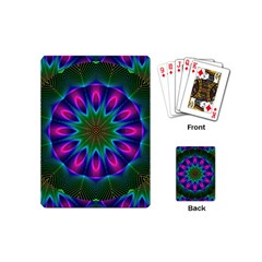 Star Of Leaves, Abstract Magenta Green Forest Playing Cards (mini) by DianeClancy