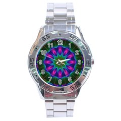 Star Of Leaves, Abstract Magenta Green Forest Stainless Steel Watch by DianeClancy
