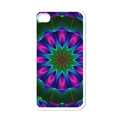Star Of Leaves, Abstract Magenta Green Forest Apple Iphone 4 Case (white) by DianeClancy