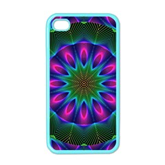 Star Of Leaves, Abstract Magenta Green Forest Apple Iphone 4 Case (color) by DianeClancy