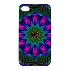 Star Of Leaves, Abstract Magenta Green Forest Apple Iphone 4/4s Hardshell Case by DianeClancy