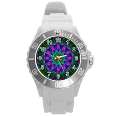 Star Of Leaves, Abstract Magenta Green Forest Plastic Sport Watch (large) by DianeClancy