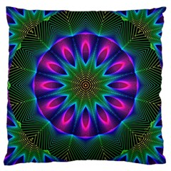 Star Of Leaves, Abstract Magenta Green Forest Large Cushion Case (two Sided)  by DianeClancy