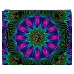 Star Of Leaves, Abstract Magenta Green Forest Cosmetic Bag (xxxl) by DianeClancy