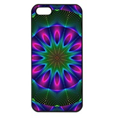Star Of Leaves, Abstract Magenta Green Forest Apple Iphone 5 Seamless Case (black) by DianeClancy