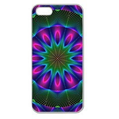 Star Of Leaves, Abstract Magenta Green Forest Apple Seamless Iphone 5 Case (clear) by DianeClancy