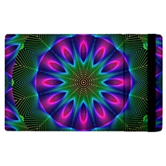 Star Of Leaves, Abstract Magenta Green Forest Apple Ipad 2 Flip Case by DianeClancy