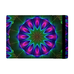 Star Of Leaves, Abstract Magenta Green Forest Apple Ipad Mini Flip Case by DianeClancy