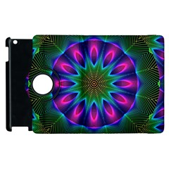 Star Of Leaves, Abstract Magenta Green Forest Apple Ipad 2 Flip 360 Case by DianeClancy