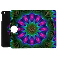 Star Of Leaves, Abstract Magenta Green Forest Apple Ipad Mini Flip 360 Case by DianeClancy