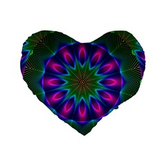 Star Of Leaves, Abstract Magenta Green Forest 16  Premium Heart Shape Cushion  by DianeClancy