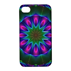 Star Of Leaves, Abstract Magenta Green Forest Apple Iphone 4/4s Hardshell Case With Stand by DianeClancy