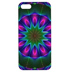 Star Of Leaves, Abstract Magenta Green Forest Apple Iphone 5 Hardshell Case With Stand by DianeClancy