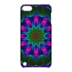 Star Of Leaves, Abstract Magenta Green Forest Apple Ipod Touch 5 Hardshell Case With Stand by DianeClancy