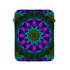 Star Of Leaves, Abstract Magenta Green Forest Apple Ipad Protective Sleeve by DianeClancy