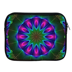 Star Of Leaves, Abstract Magenta Green Forest Apple Ipad Zippered Sleeve by DianeClancy