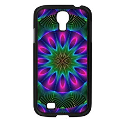 Star Of Leaves, Abstract Magenta Green Forest Samsung Galaxy S4 I9500/ I9505 Case (black) by DianeClancy