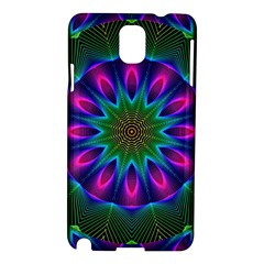 Star Of Leaves, Abstract Magenta Green Forest Samsung Galaxy Note 3 N9005 Hardshell Case by DianeClancy