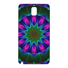 Star Of Leaves, Abstract Magenta Green Forest Samsung Galaxy Note 3 N9005 Hardshell Back Case by DianeClancy