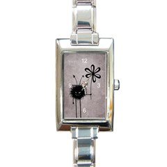 Evil Flower Bug Vintage Rectangular Italian Charm Watch by CreaturesStore