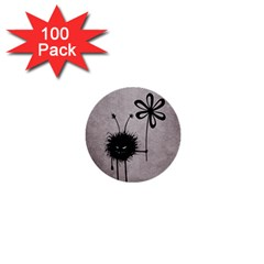 Evil Flower Bug Vintage 1  Mini Button (100 Pack) by CreaturesStore