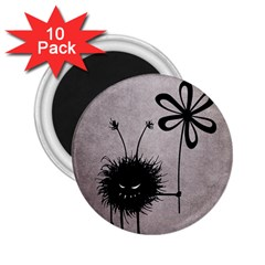 Evil Flower Bug Vintage 2 25  Button Magnet (10 Pack)