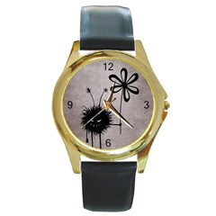 Evil Flower Bug Vintage Round Leather Watch (gold Rim)