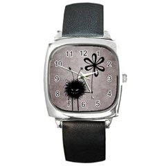 Evil Flower Bug Vintage Square Leather Watch by CreaturesStore