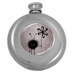 Evil Flower Bug Vintage Hip Flask (round)