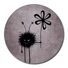 Evil Flower Bug Vintage 8  Mouse Pad (round) by CreaturesStore