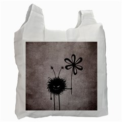 Evil Flower Bug Vintage White Reusable Bag (one Side)