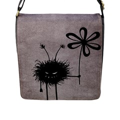 Evil Flower Bug Vintage Flap Closure Messenger Bag (large)