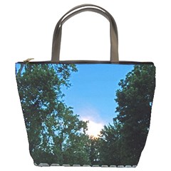 Coming Sunset Accented Edges Bucket Handbag by Majesticmountain