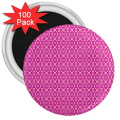 Pink Kaleidoscope 3  Button Magnet (100 Pack) by Khoncepts