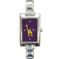 Purple Roller Skating Cute Cartoon Giraffe Rectangular Italian Charm Watch