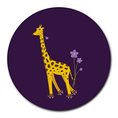 Purple Roller Skating Cute Cartoon Giraffe 8  Mouse Pad (round) by CreaturesStore