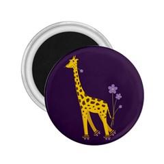 Purple Roller Skating Cute Cartoon Giraffe 2 25  Button Magnet