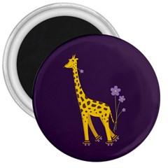 Purple Roller Skating Cute Cartoon Giraffe 3  Button Magnet by CreaturesStore