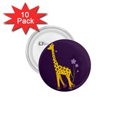 Purple Roller Skating Cute Cartoon Giraffe 1 75  Button (10 Pack) by CreaturesStore