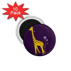 Purple Roller Skating Cute Cartoon Giraffe 1 75  Button Magnet (10 Pack)