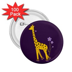 Purple Roller Skating Cute Cartoon Giraffe 2 25  Button (100 Pack) by CreaturesStore