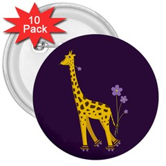 Purple Roller Skating Cute Cartoon Giraffe 3  Button (10 Pack) by CreaturesStore